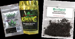 Figura 1 - Confezioni di prodotti contenenti Salvia divinorum e Mitragyna speciosa (foglie) in taglio tisana, vendute on-line.