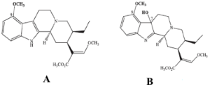 Figura 8 - Struttura chimica della mitraginina (A) e del suo analogo 7-OH-mitragininia (B).